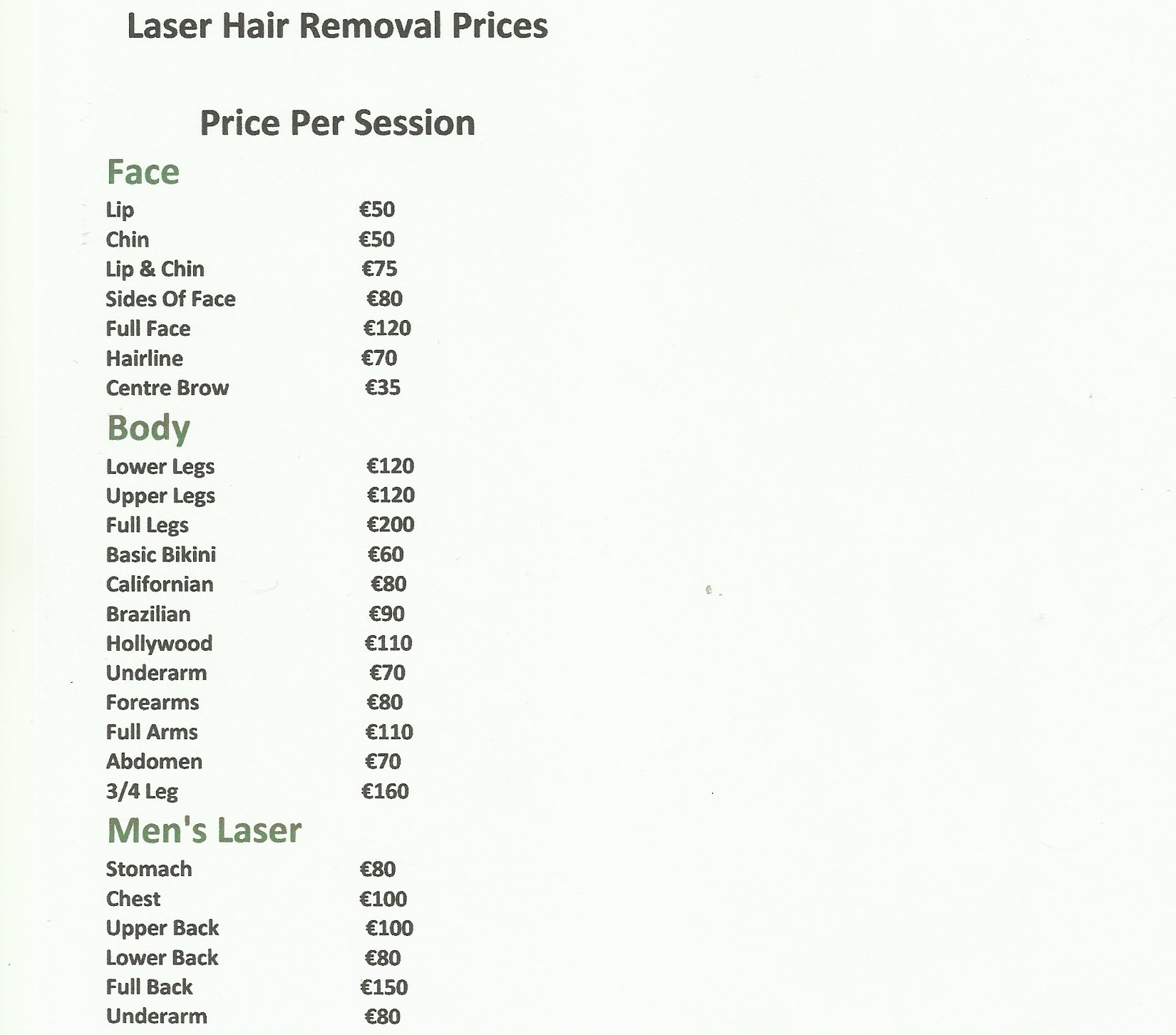 Laser Hair Removal Price List
